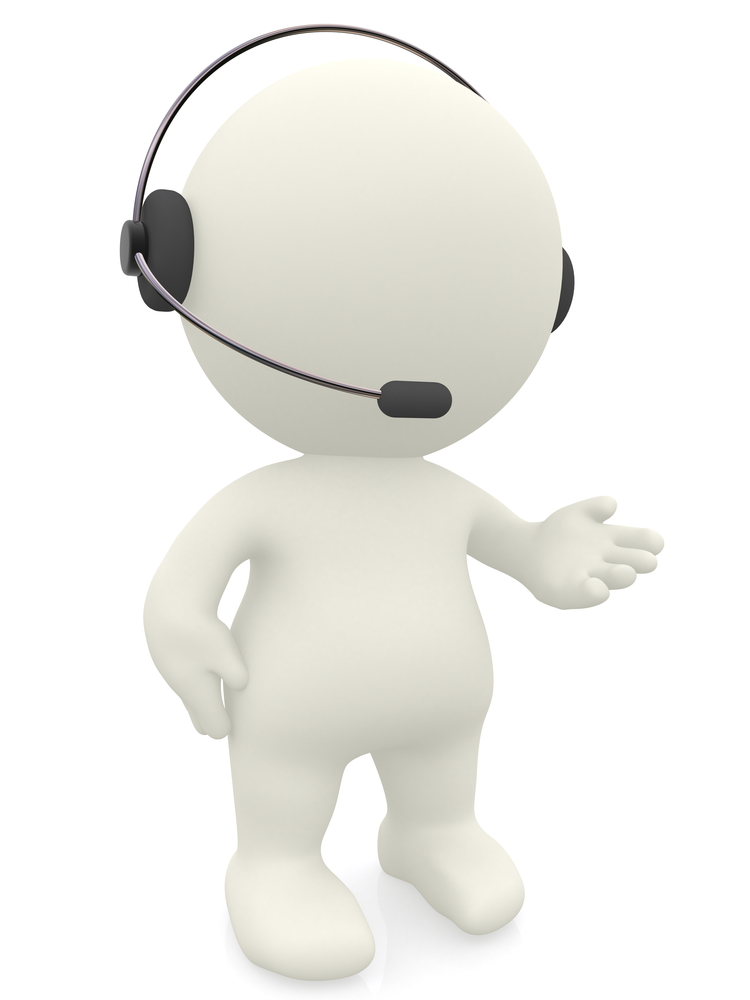 3D customer support operator with a headset - isolated over white