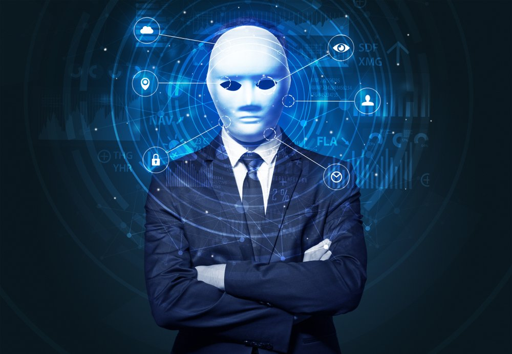Facial recognition biometric technology and artificial intelligence concept.