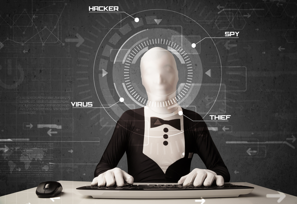 Hacker without identity in futuristic enviroment hacking personal information on tech background-1